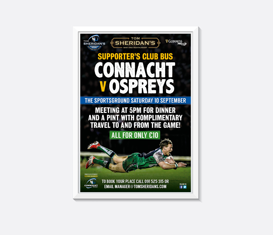 Tom Sheridan's Connacht Rugby promotional A2 poster