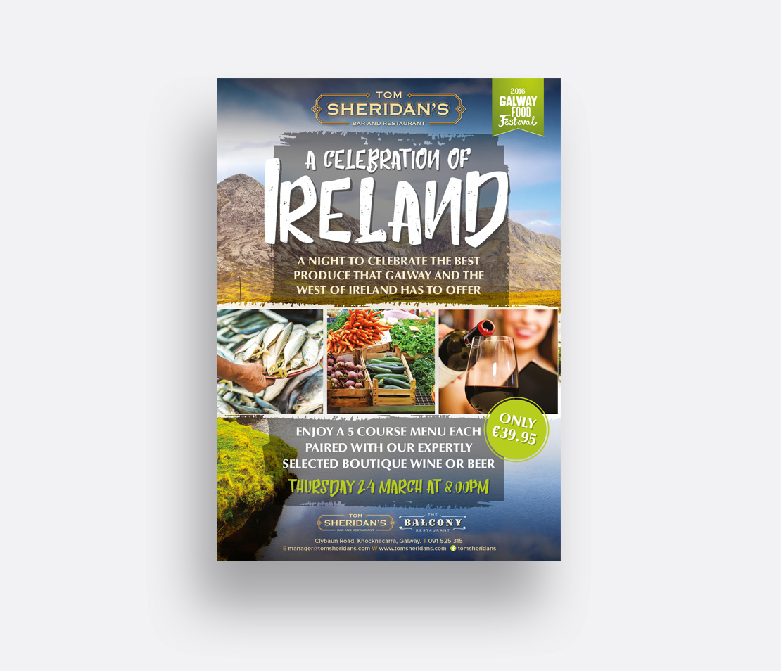 Tom Sheridan's 'A Celebration of Ireland' Galway Food Festival promotion