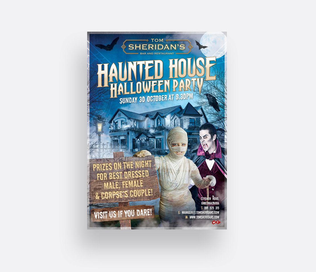 Tom Sheridan's 2016 Halloween Party promotional A2 poster