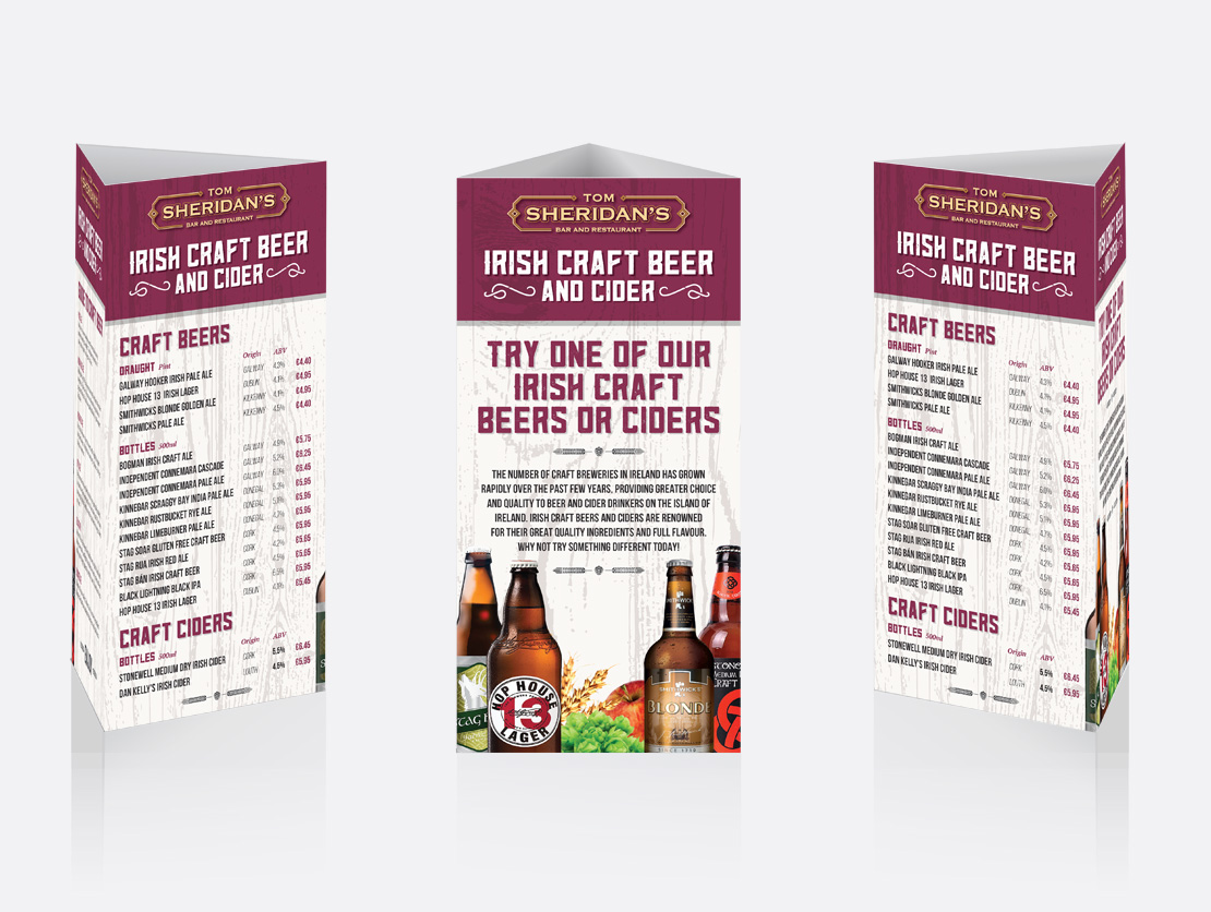 Tom Sheridan's promotional craft beer 3-sided table toppers
