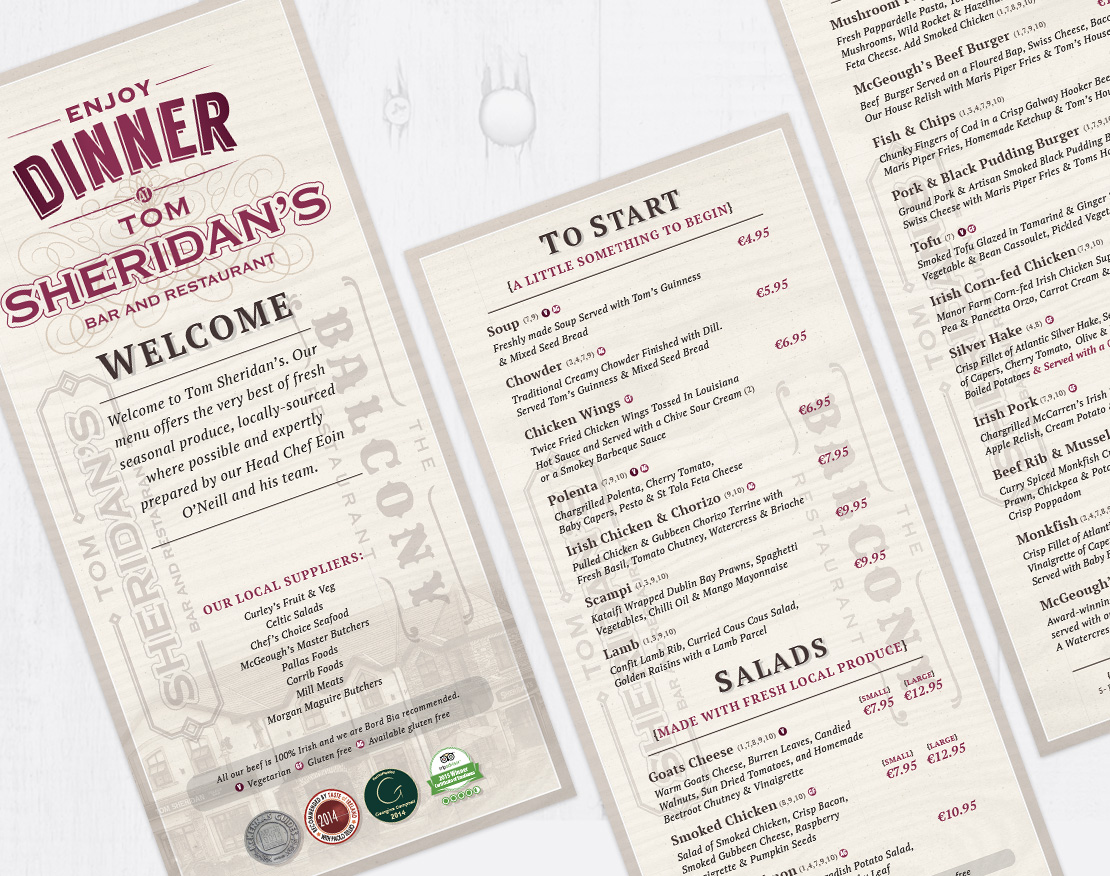 Tom Sheridan's dinner menu insert design