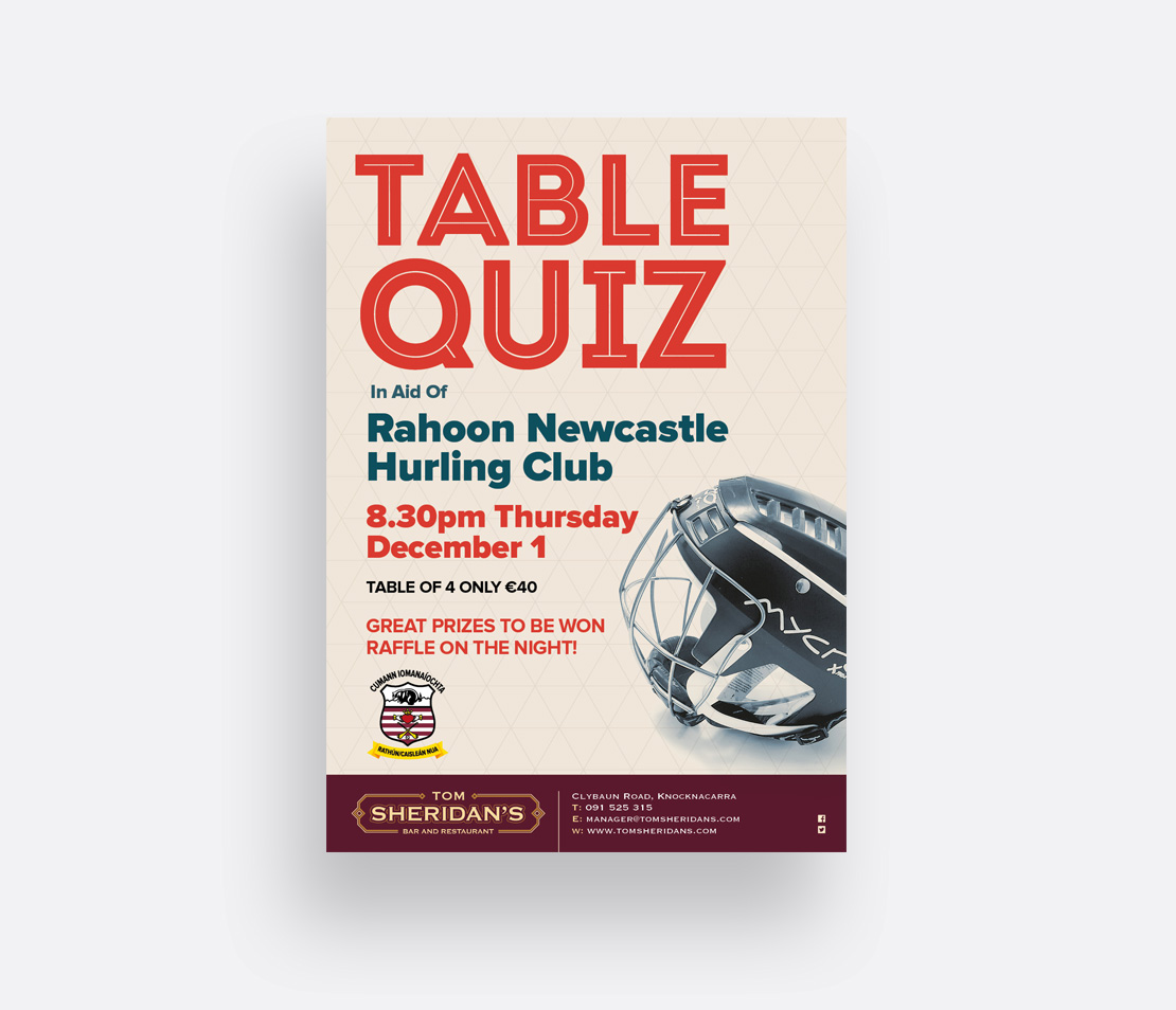 Tom Sheridan's GAA Table Quiz A2 promotional poster
