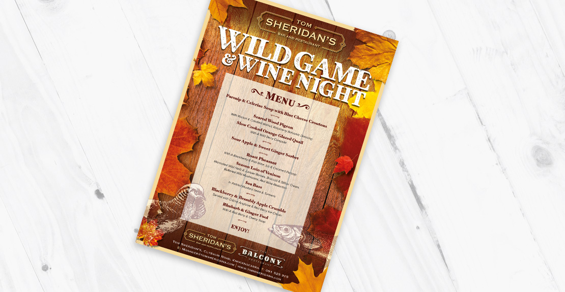 Tom Sheridan's 'Wild Game & Wine Night' promotion