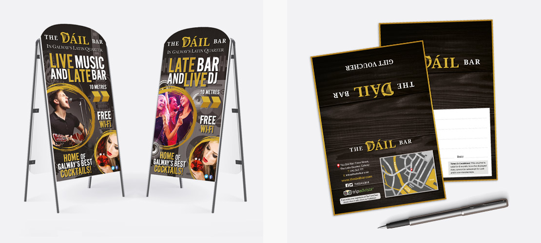 The Dáil Bar entertainment a-boards and gift vouchers