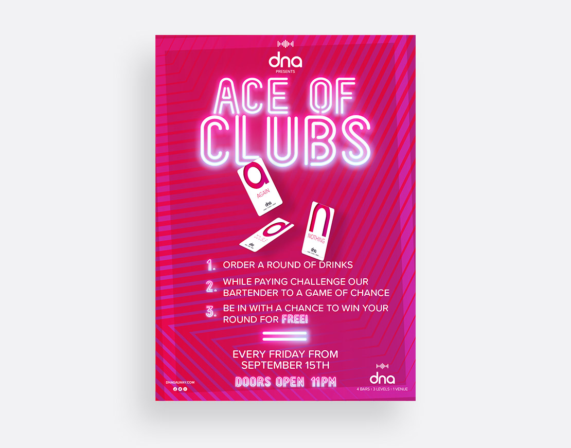 dna 'Ace of Clubs' customer game promotional A2 poster