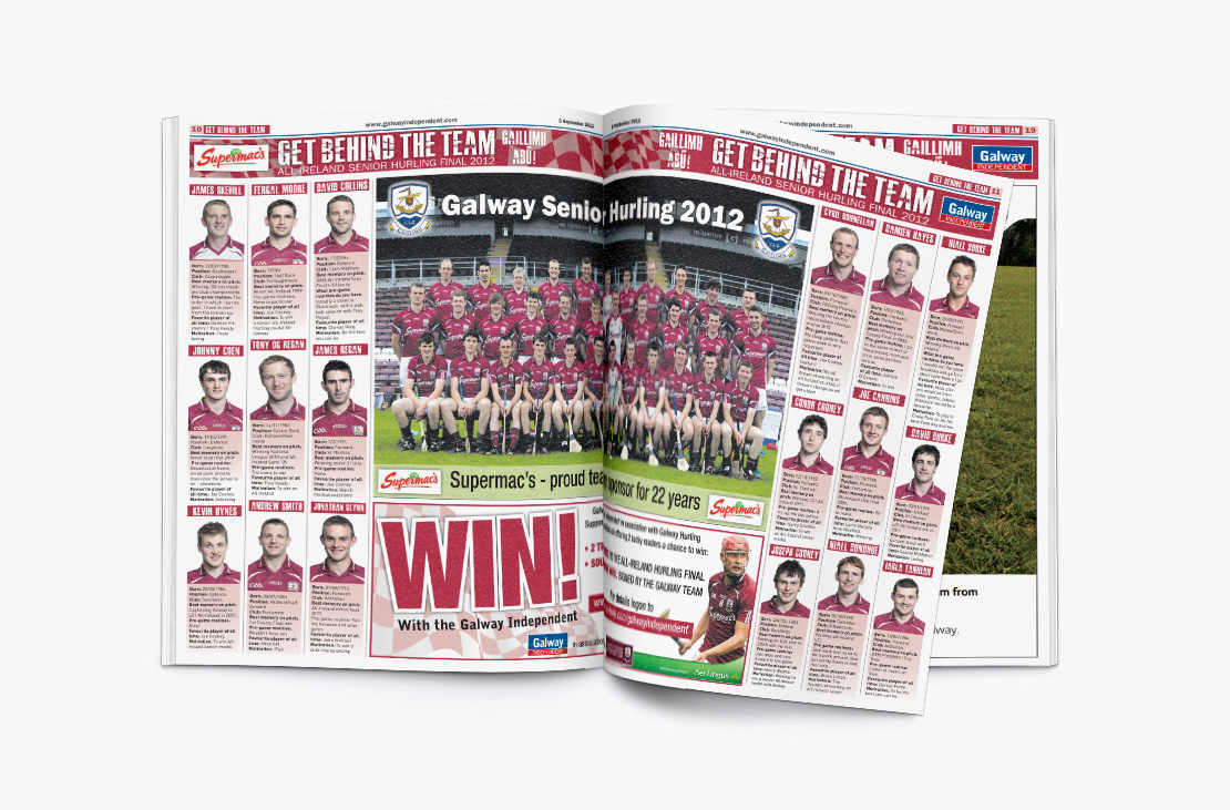 Galway Independent Galway Hurlers All-Ireland double-page spread