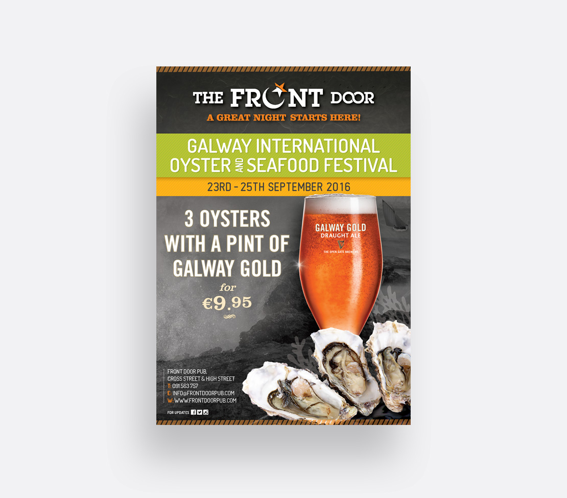 The Front Door 2016 Galway International Oyster Festival promotional A2 poster