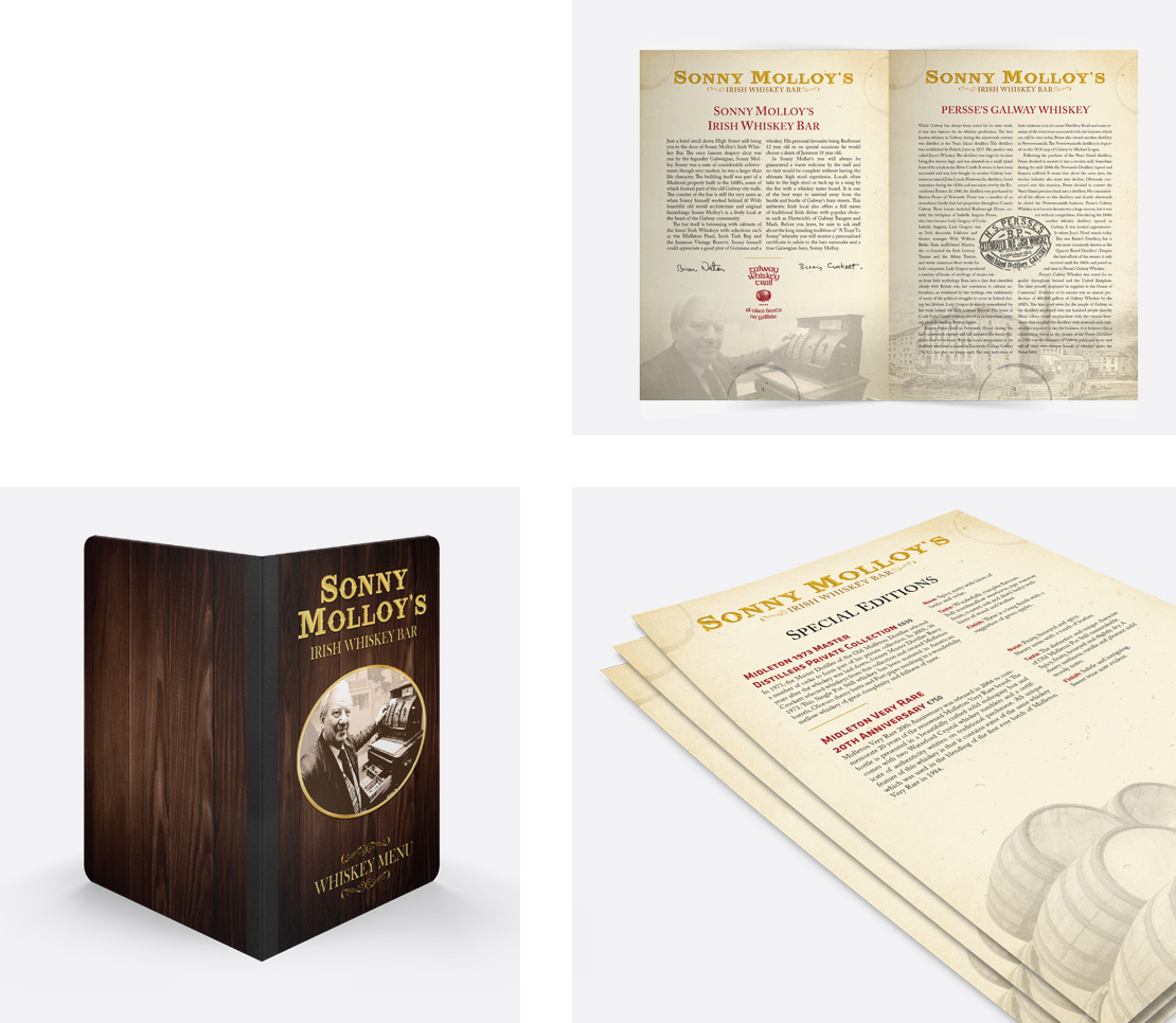 Sonny Molloy's whiskey menu cover and page design