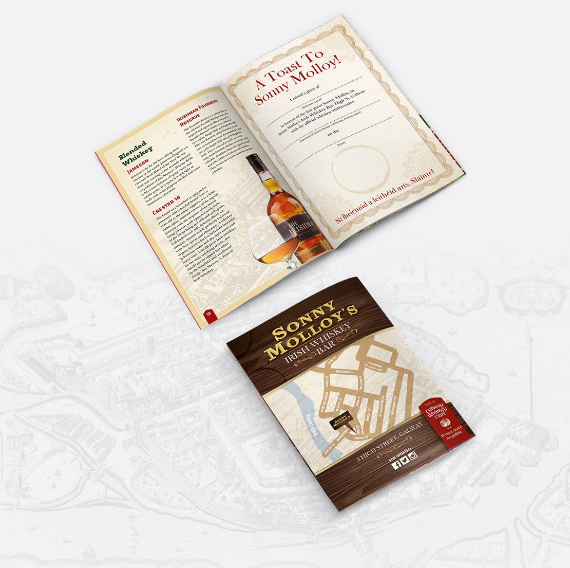 Sonny Molloy's 22-page Whiskey Trail Brochure back pages design