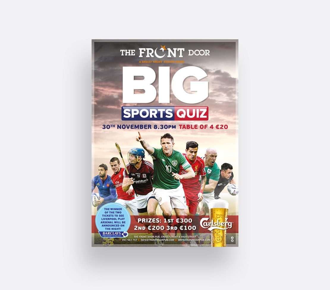 The Front Door Big Sports Quiz promotional A2 poster