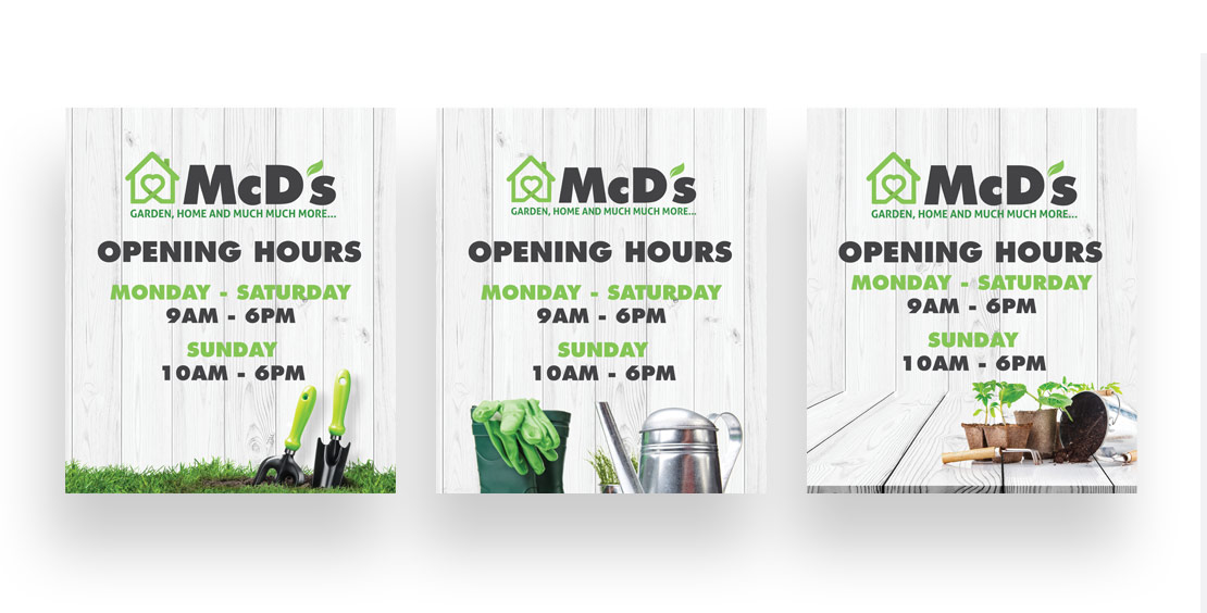 McD's Opening Hours signs