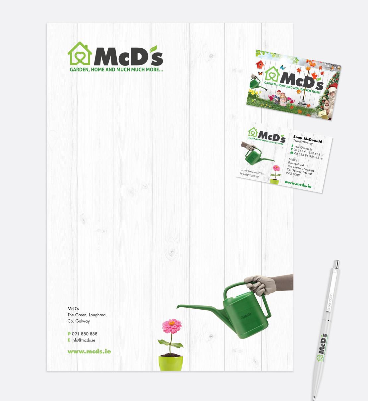 McD's A4 letterhead and business card