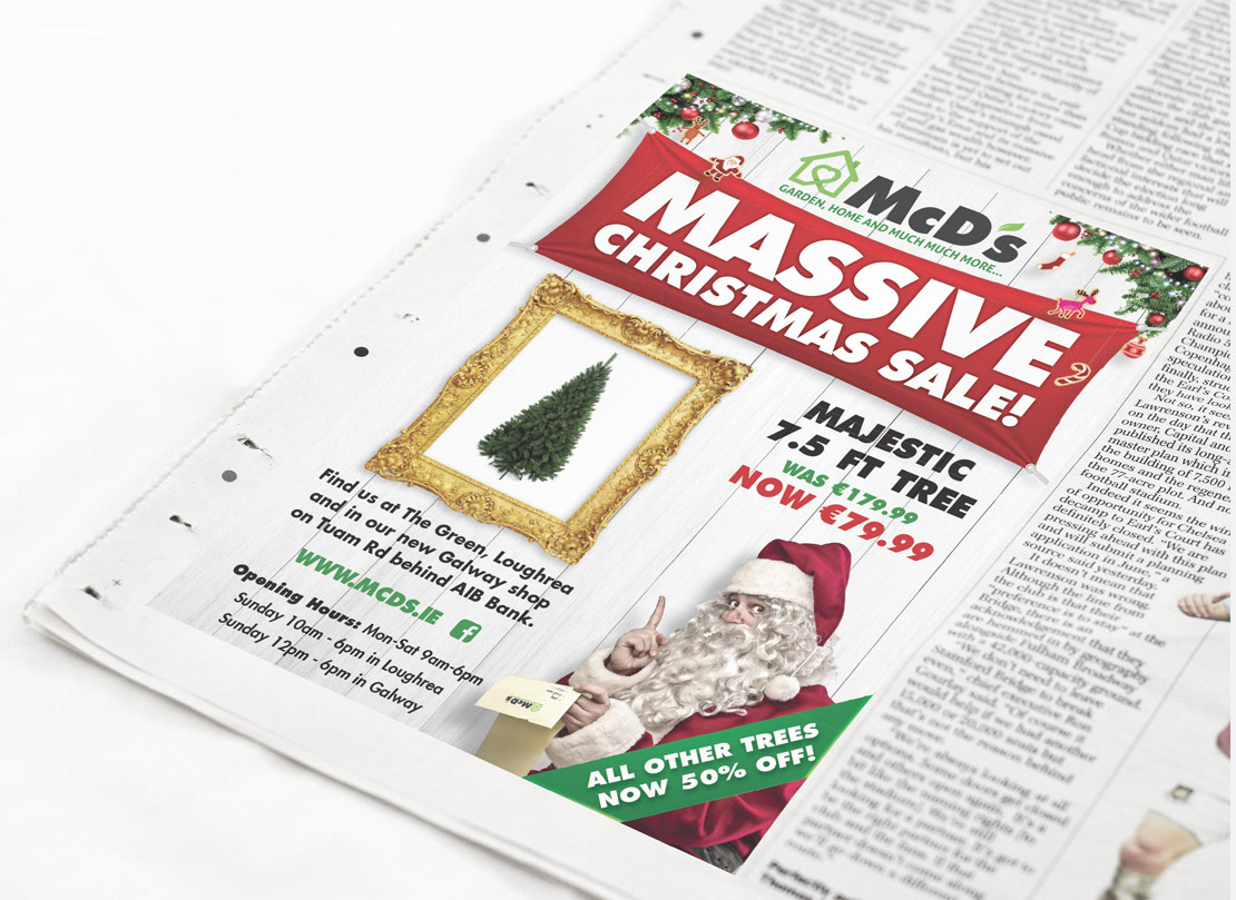 McD's Christmas promotional newspaper advertising