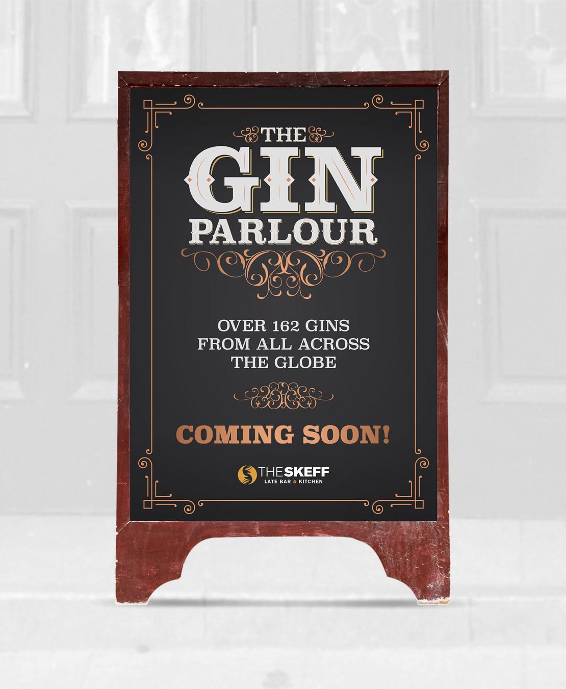 The Skeff Gin Parlour 'Coming Soon' poster design