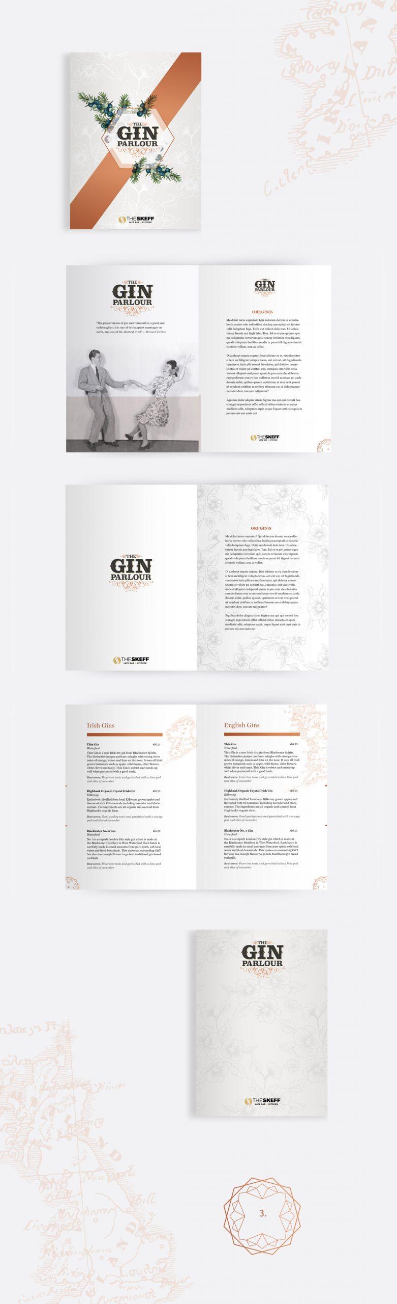 The Skeff Gin Parlour menu concept