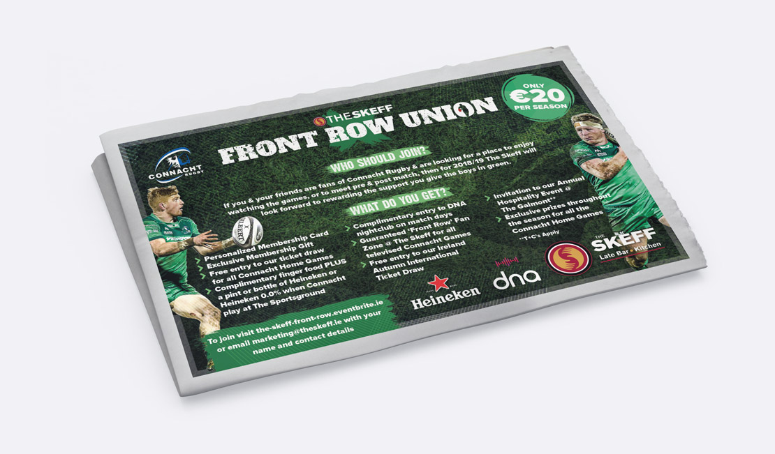The Skeff Connacht Rugby 'Front Row Union' promotional campaign newspaper ad