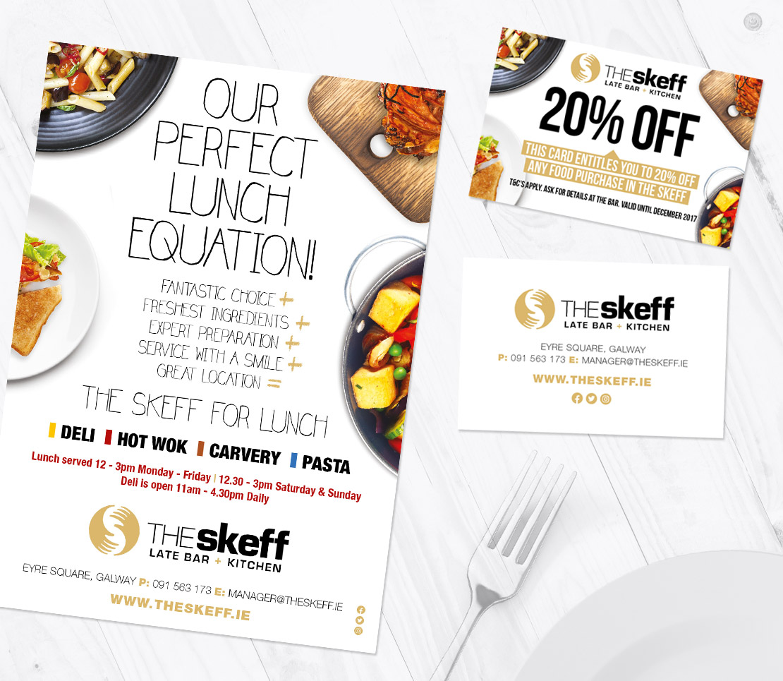 The Skeff 'Perfect Lunch Equation' promotional campaign A5 flyer and business cards