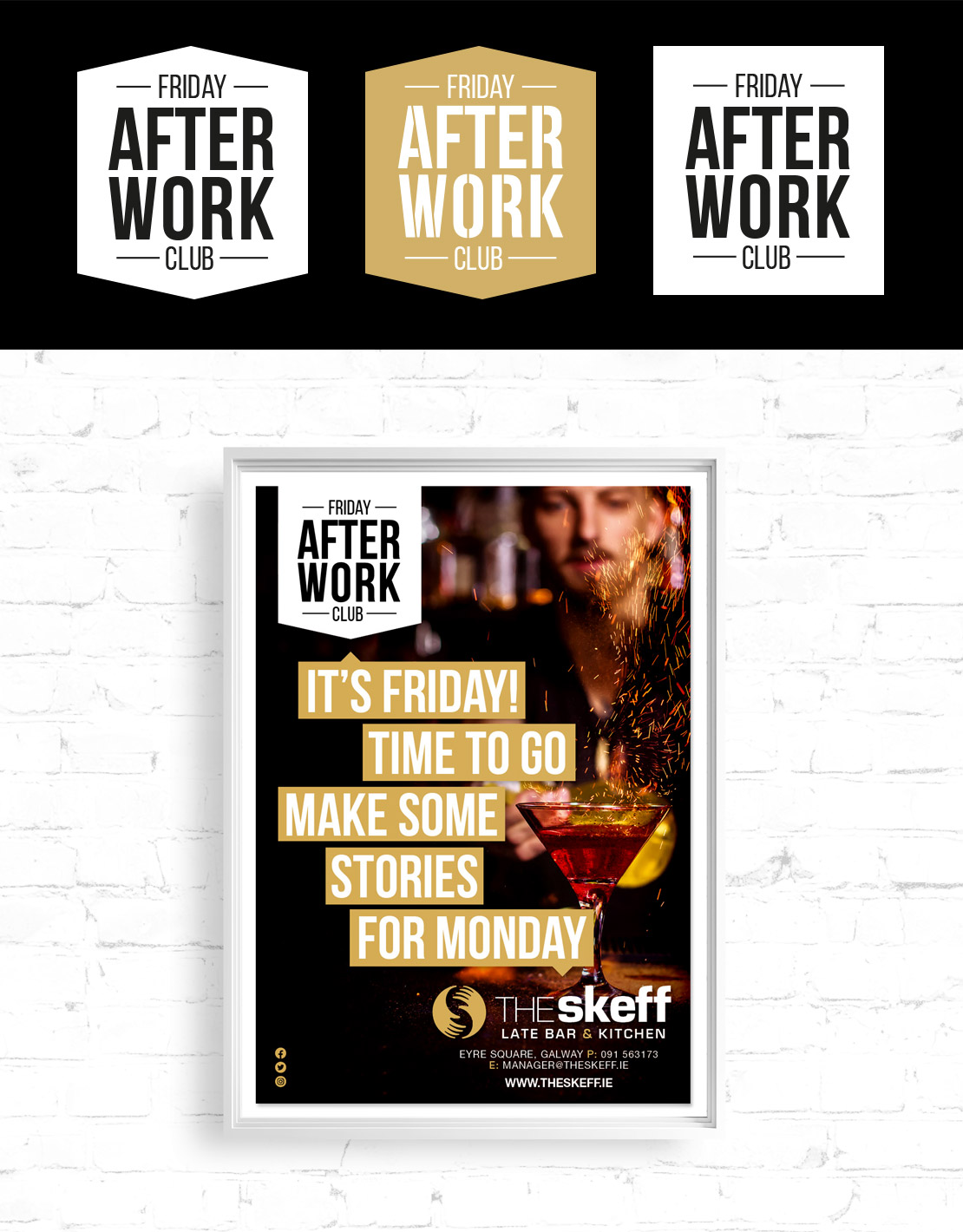 The Skeff 'Friday After Work Club' campaign logo and poster design