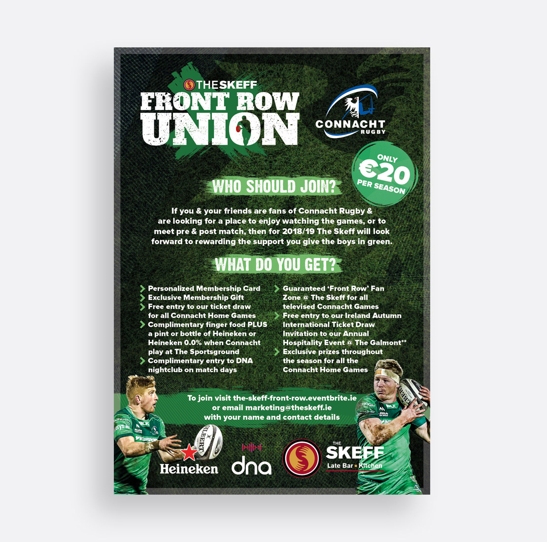 The Skeff Connacht Rugby 'Front Row Union' promotional campaign and A1 poster