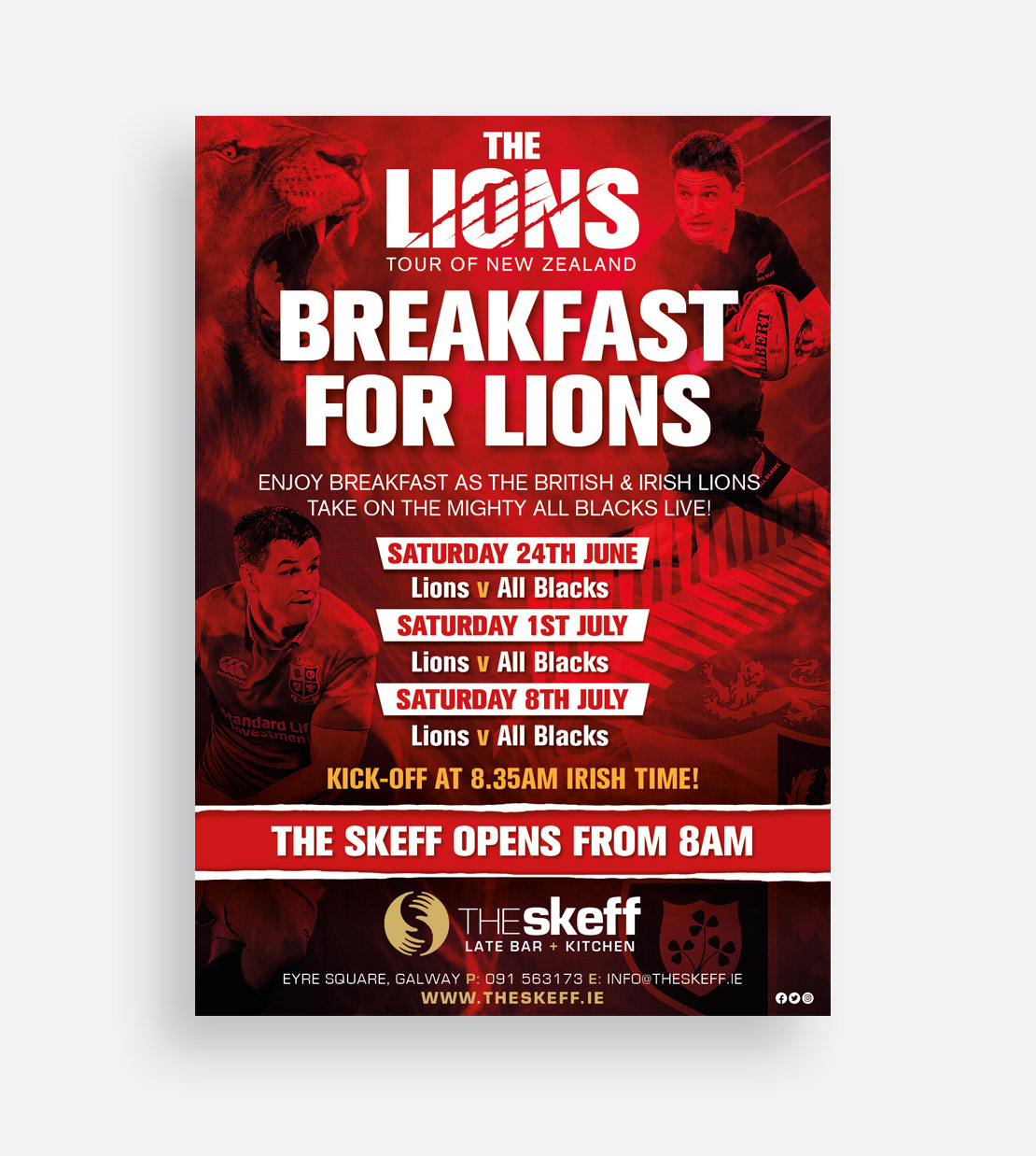 The Skeff 'Breakfast For Lions' promotional campaign poster