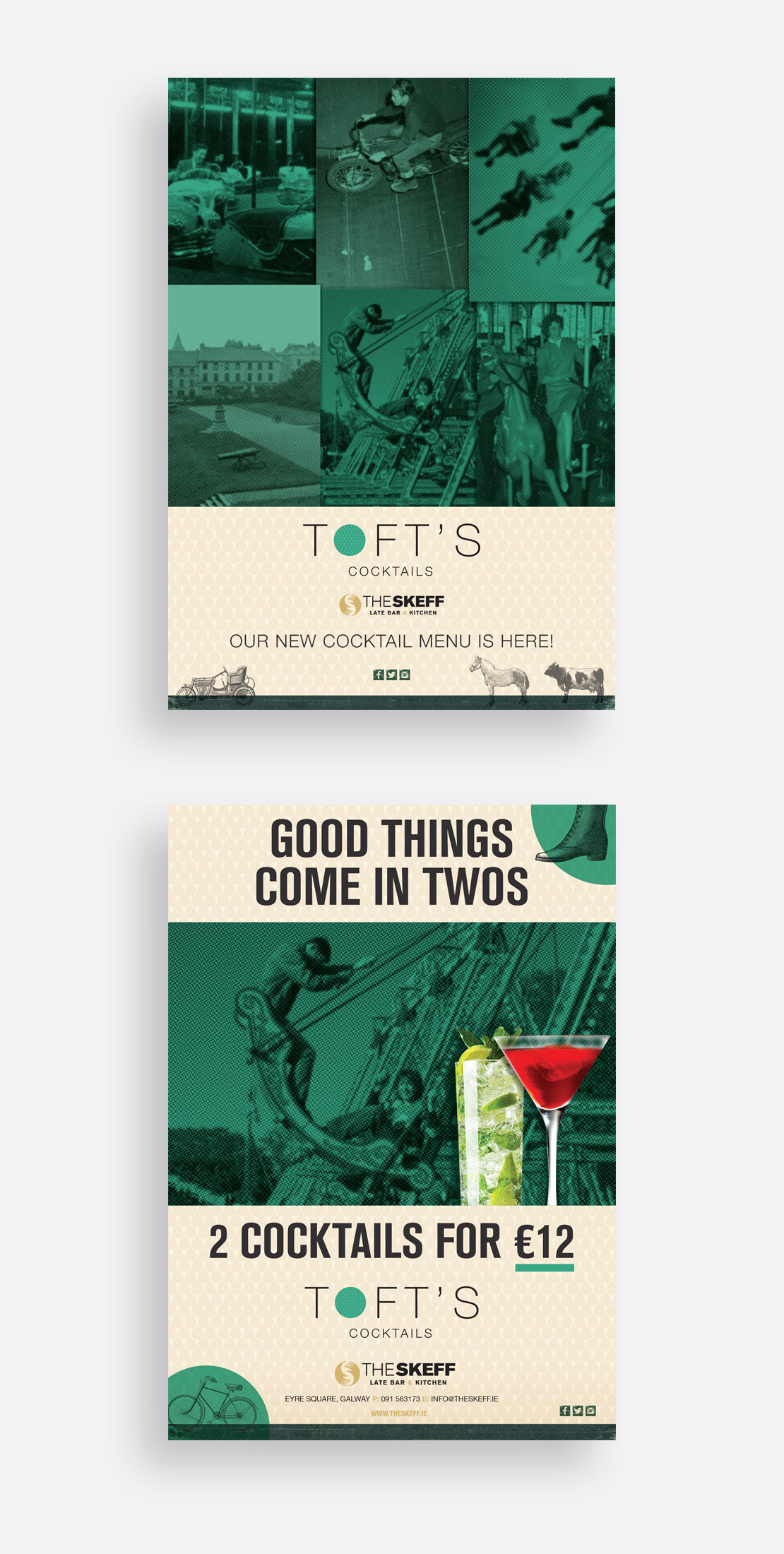 The Skeff's Toft's Cocktail Bar poster campaigns