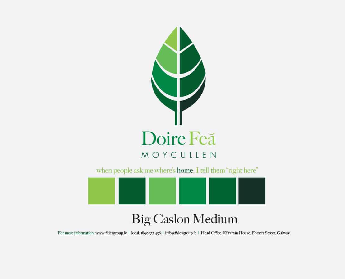 Doire Feá Logo and branding scheme
