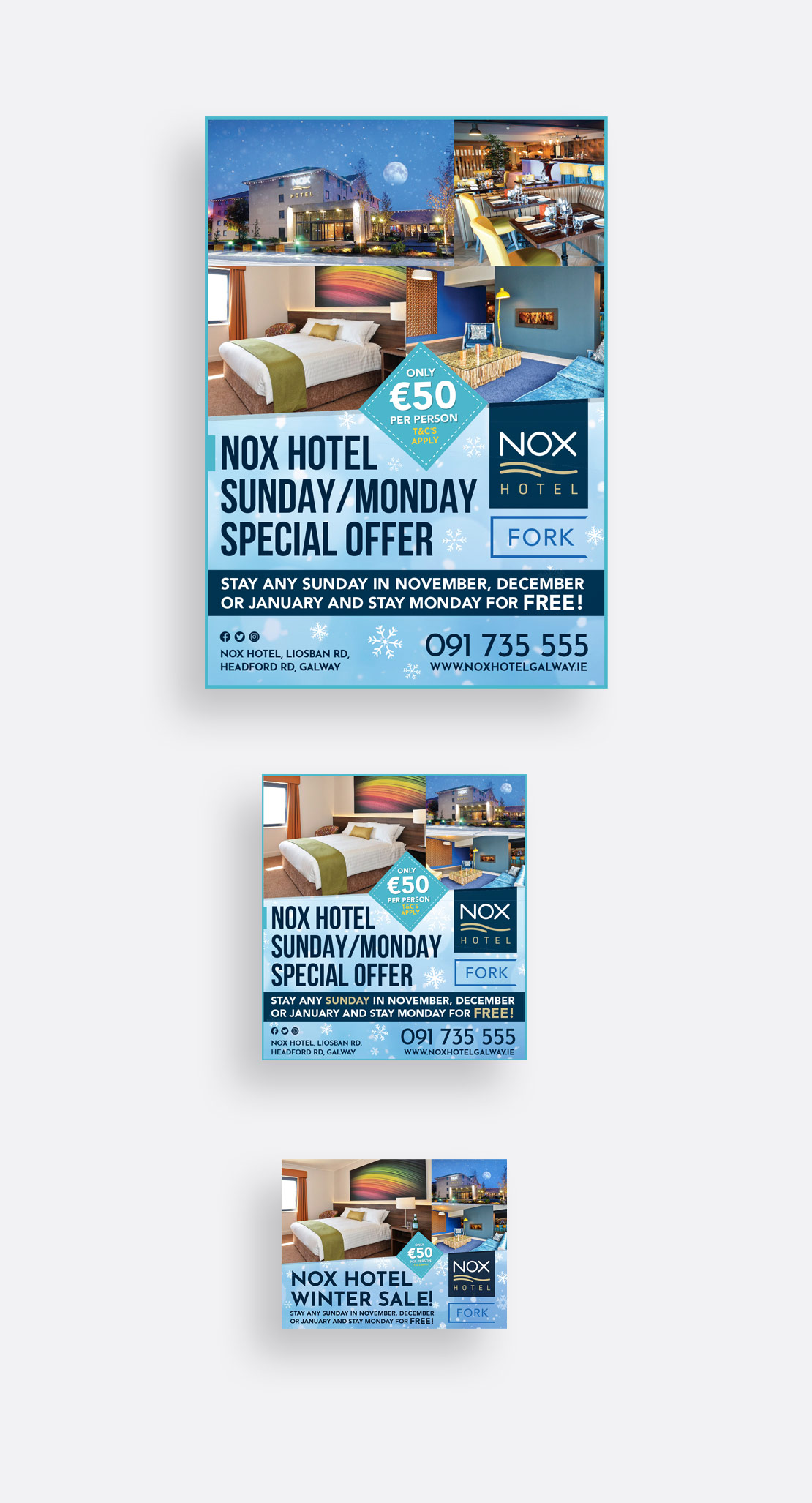 Nox Hotel Winter print and social media campaign