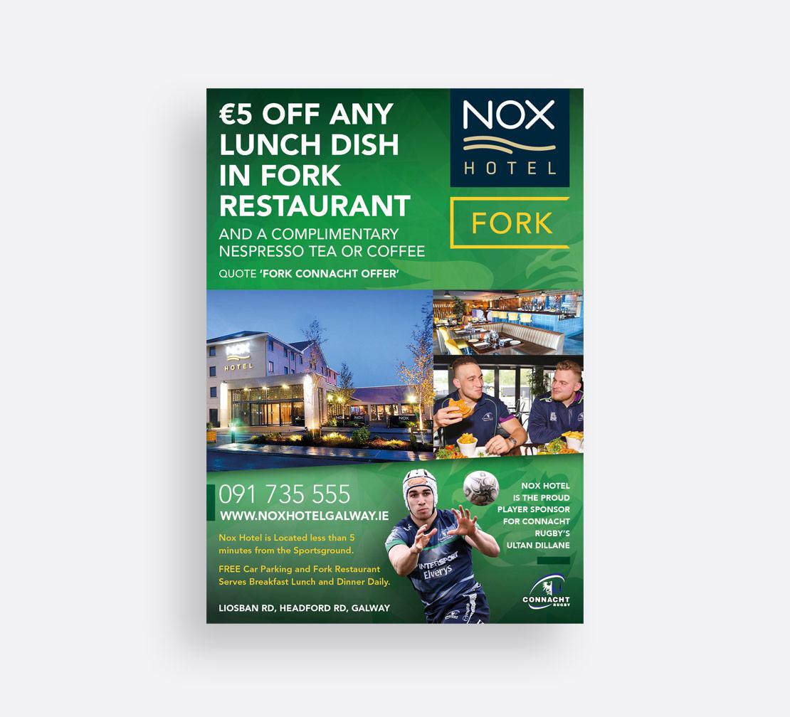 Nox Hotel Connacht Rugby print ad