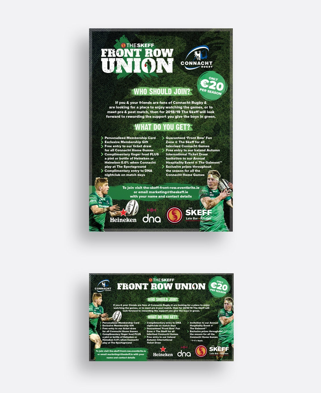 'Front Row Union' club posters and print ad for Skeff Bar