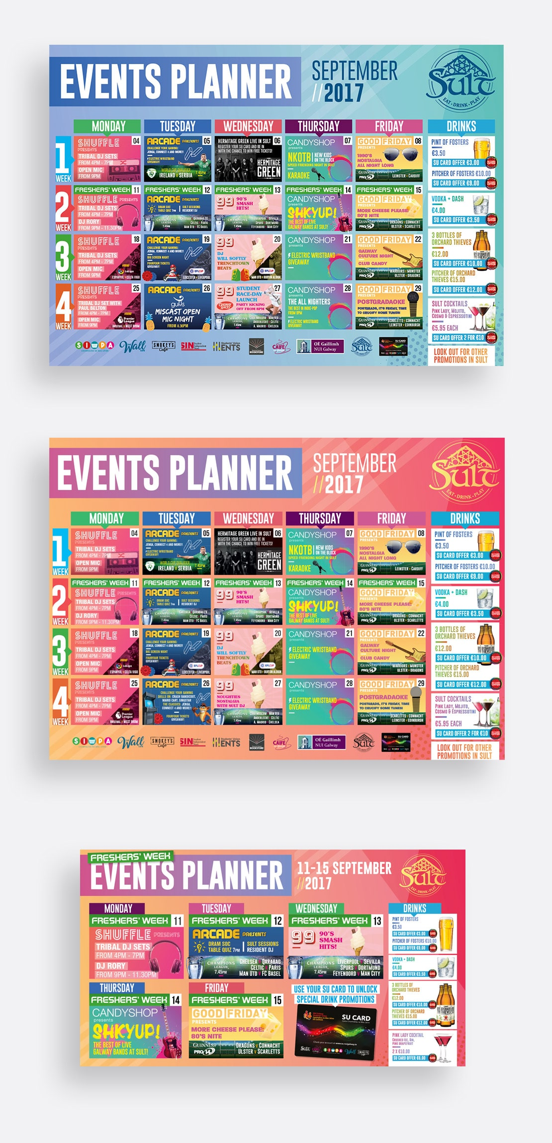 Large format events planner in print and digital formats for Sult Bar, NUIG