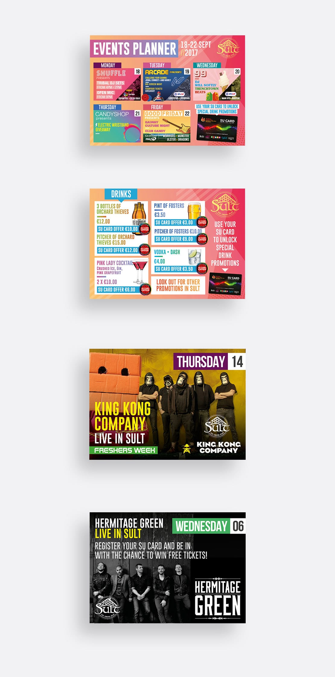 A6 flyers designs for Sult Bar, NUIG